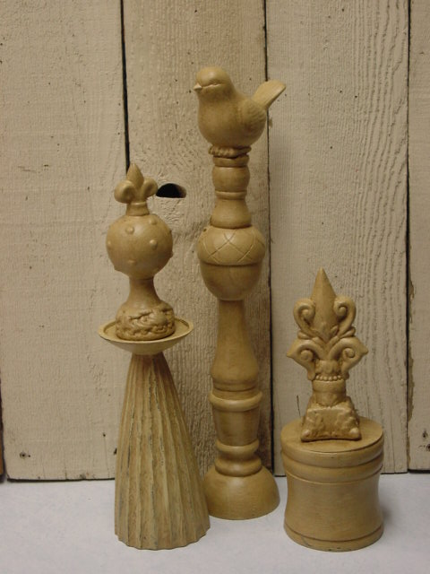Dollar tree ceramic finials the dollar diva for Wooden finials for crafts